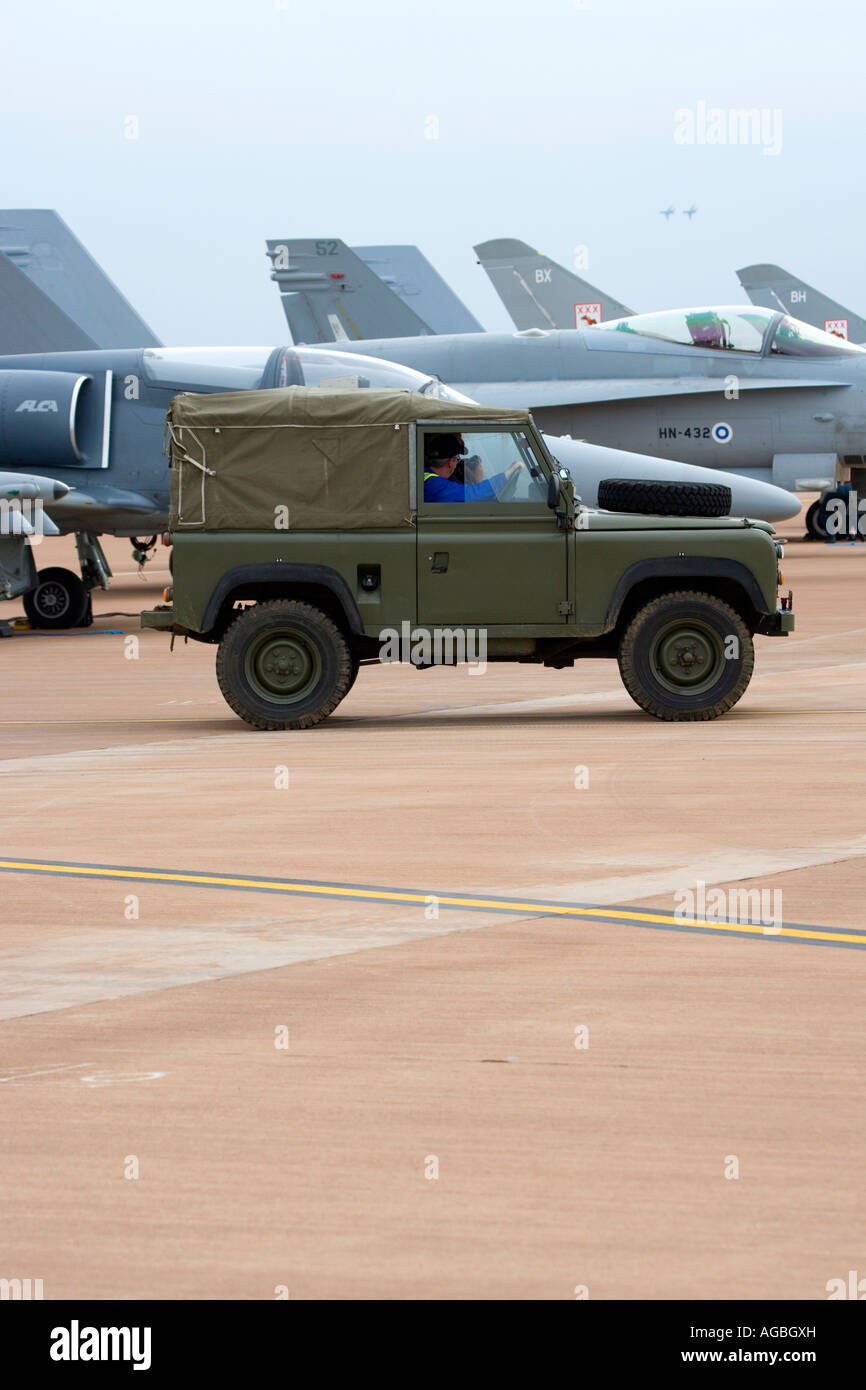 Royal Air Force Eurofighter Typhoon T1 and green jeep - Stock Image