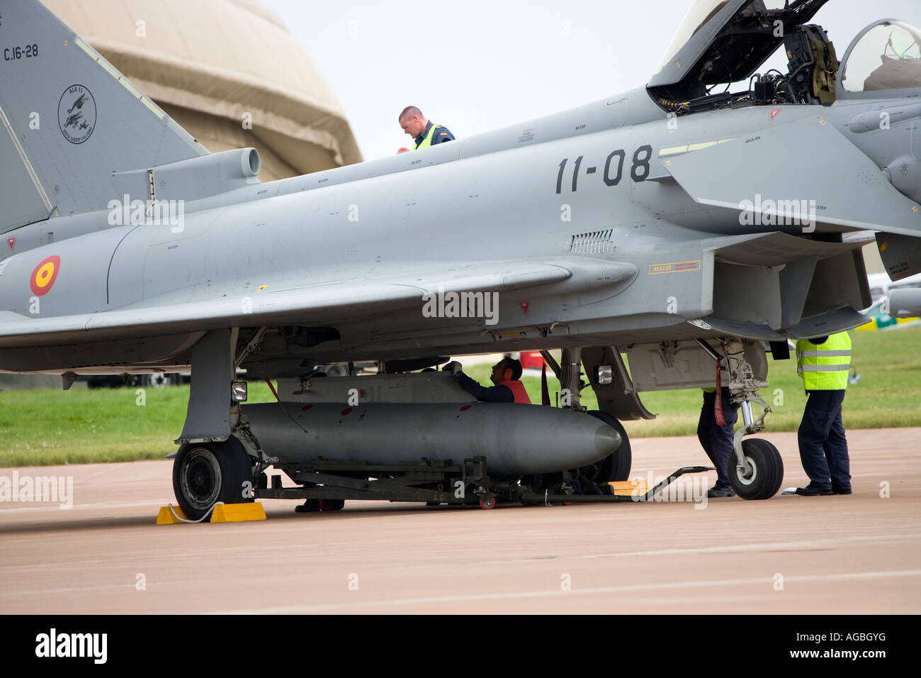 Royal Air Force Eurofighter Typhoon T1 being maintained - Stock Image