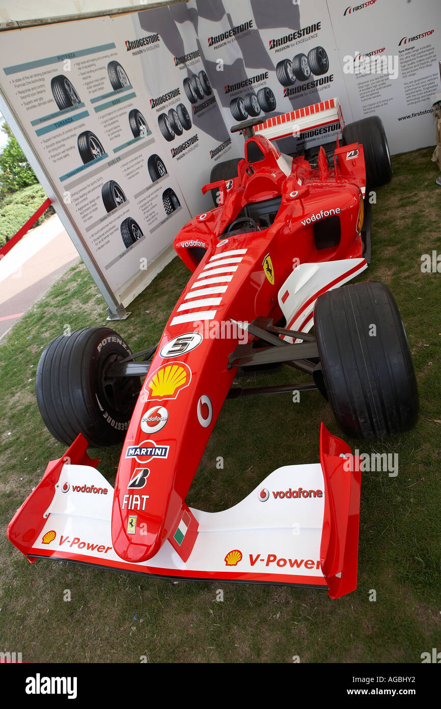 Bridgestone Display A F1 Ferrari Racing Car Used By Michael Schumacher 2003    Stock Image