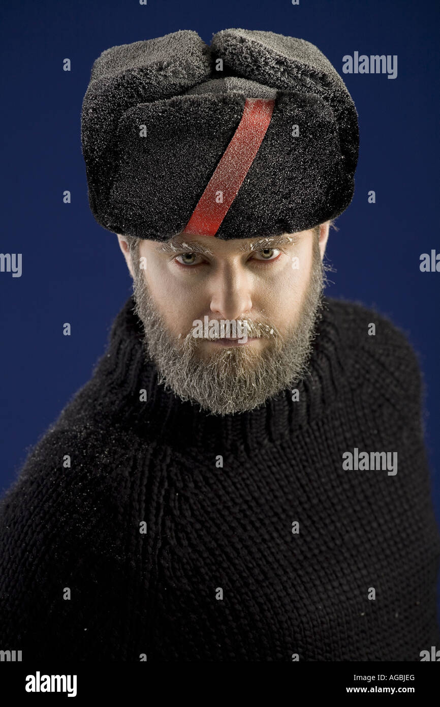 One Russian partisan with a beard in the snow. Moscow. USSR. Stock Photo