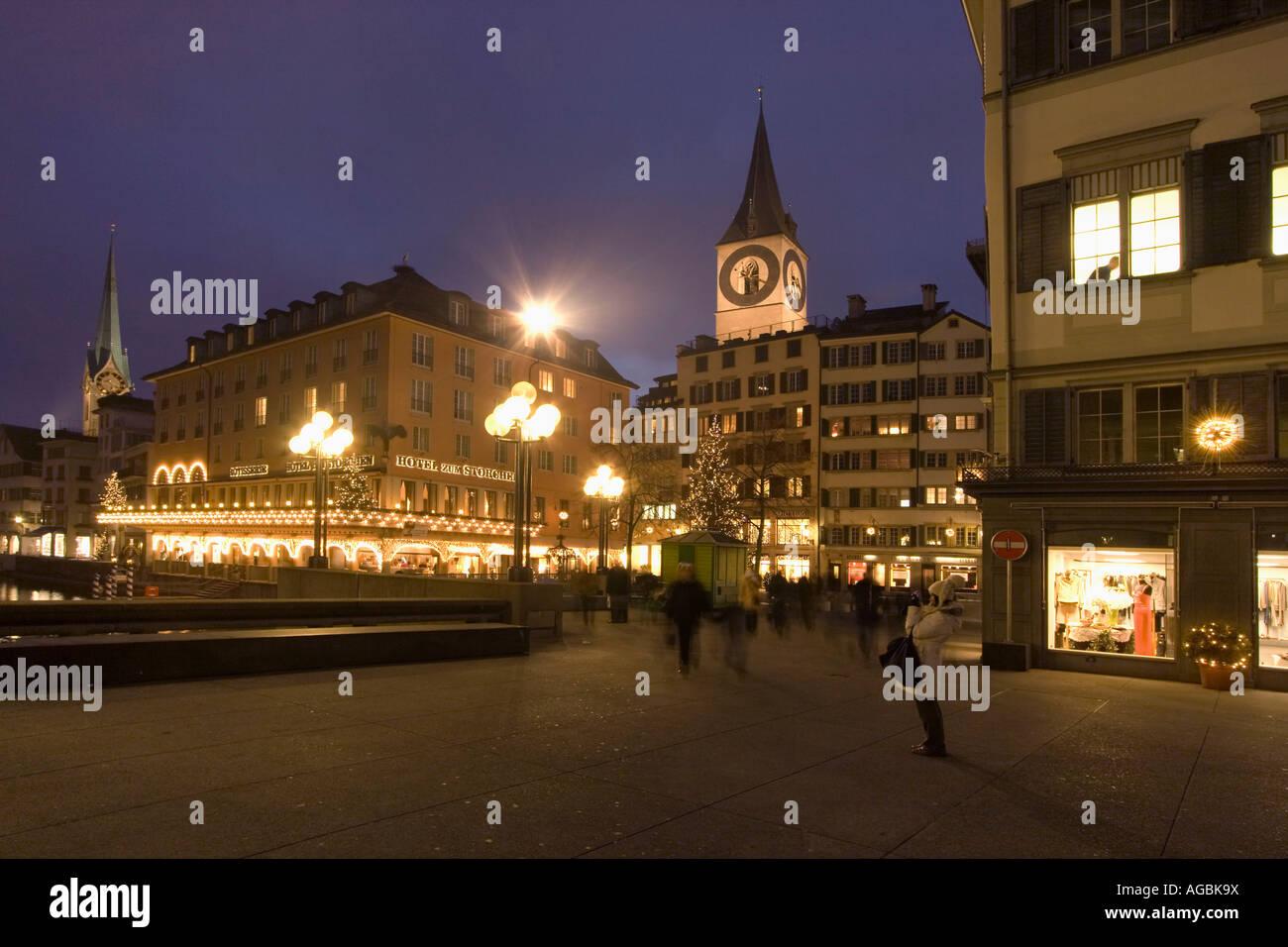 Switzerland Zuerich Hotel Storchen Munster bridge - Stock Image