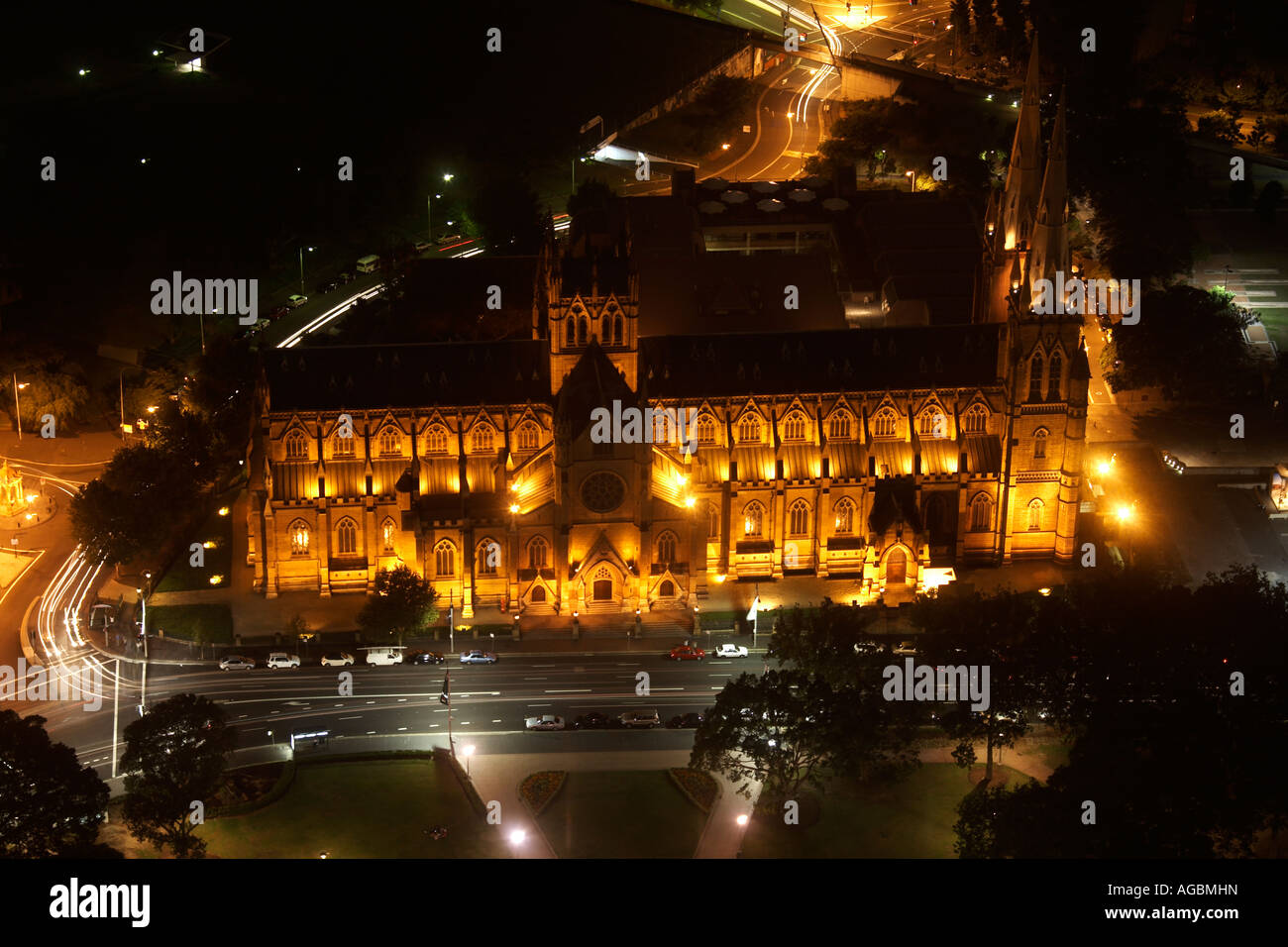 High level oblique aerial view east of St Mary s Cathedral at dusk evening or twilight from Sydney Tower NSW Australia - Stock Image