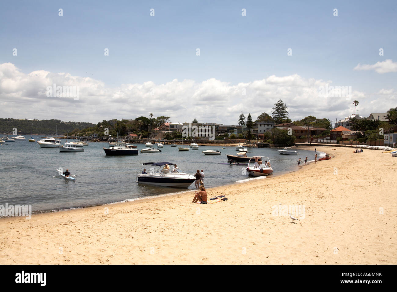 Beach and boats at Watsons Bay in Sydney New South Wales NSW Australia - Stock Image