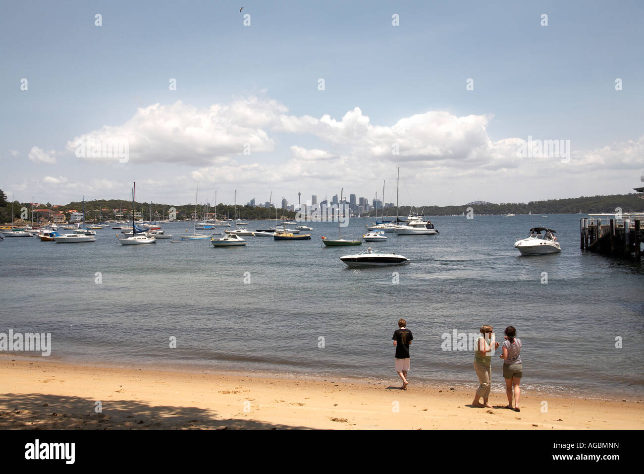 Beach and boats with people at Watsons Bay in Sydney New South Wales NSW Australia - Stock Image
