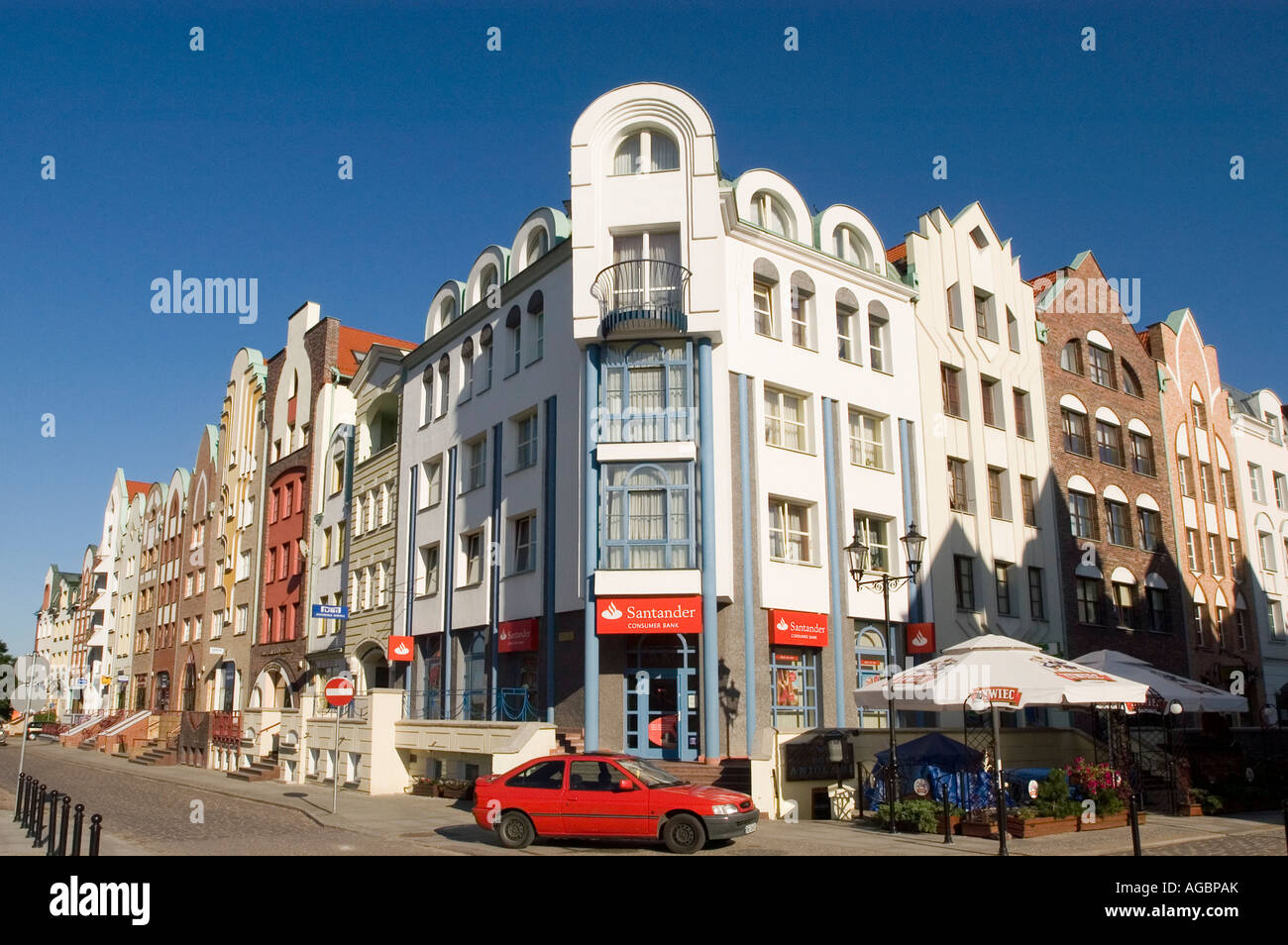 Modern stylised architecture in Elblag Old Town, Poland building house - Stock Image