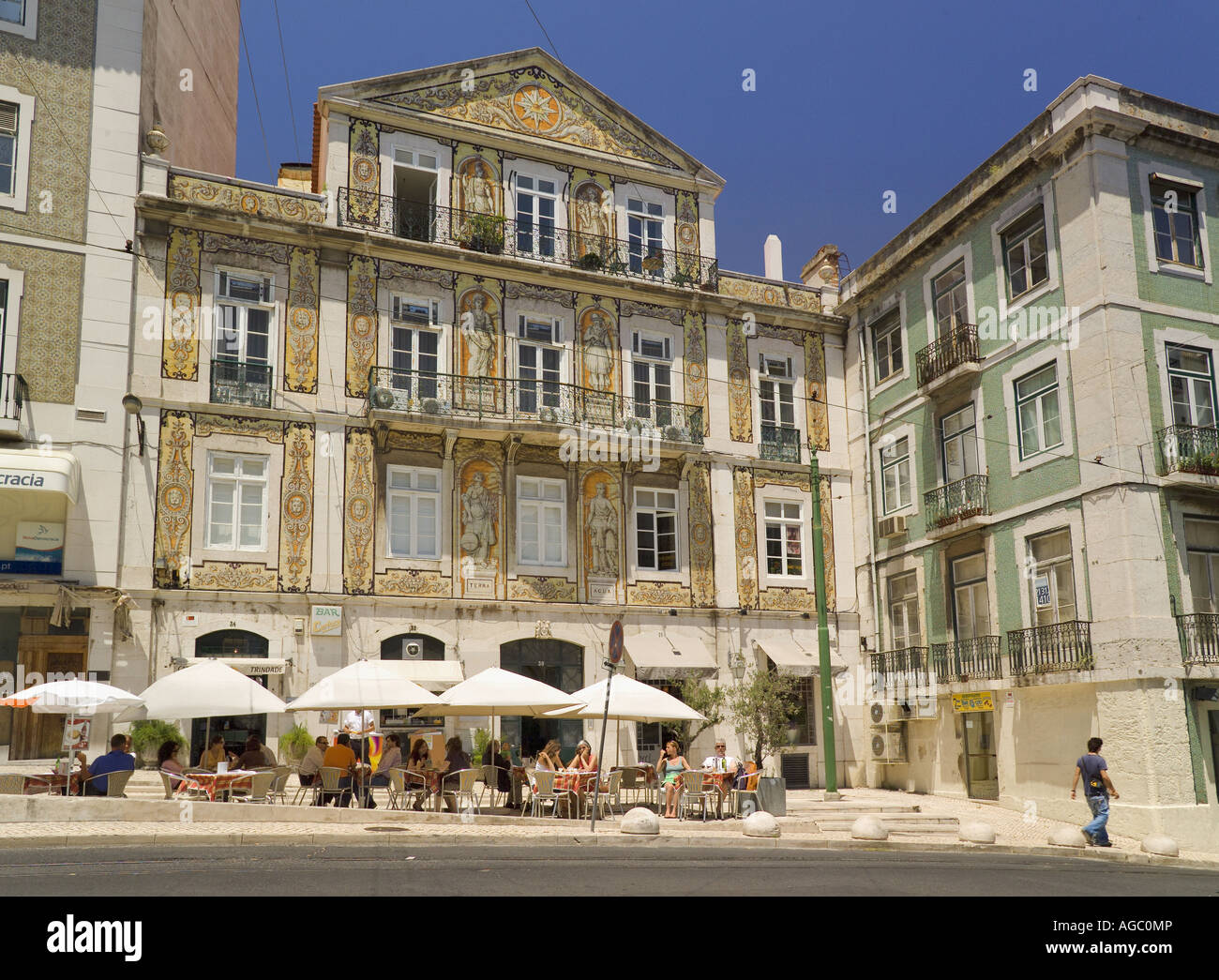 Chiado District of Lisbon, a  Street Scene With Restaurant - Stock Image