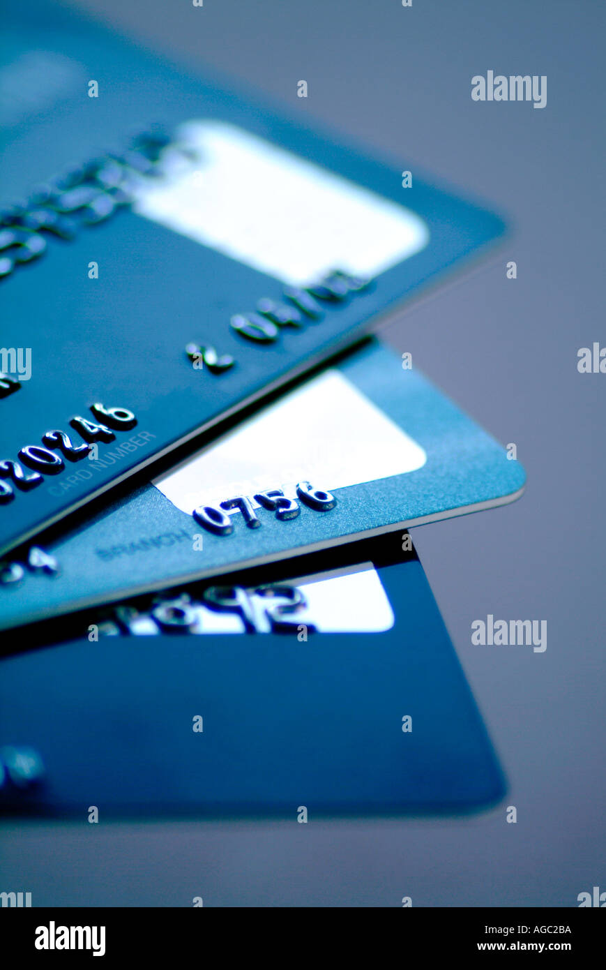 Close up detail of credit cards - Stock Image