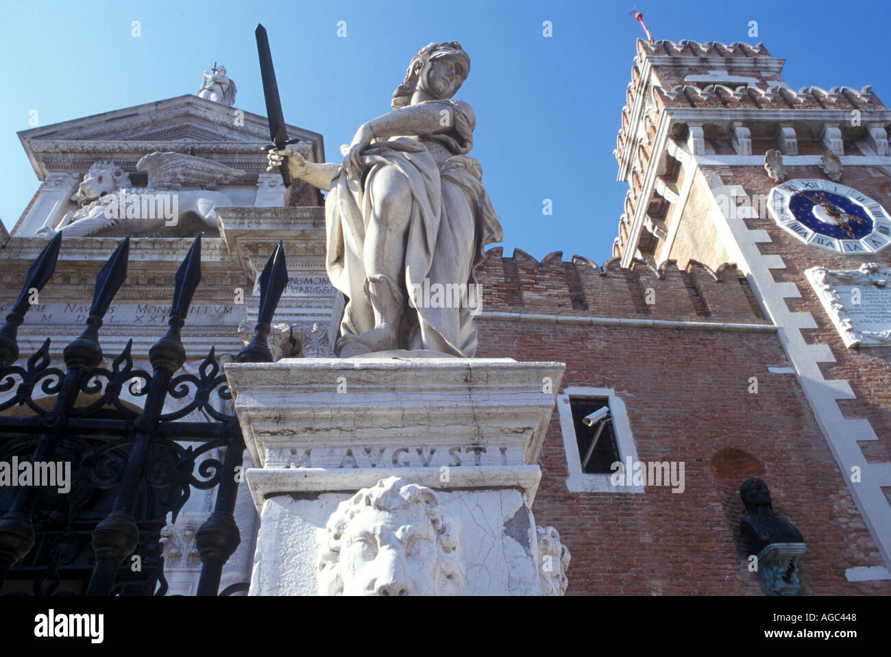 Statue outside the Castello in Venice Arsenale Italy - Stock Image