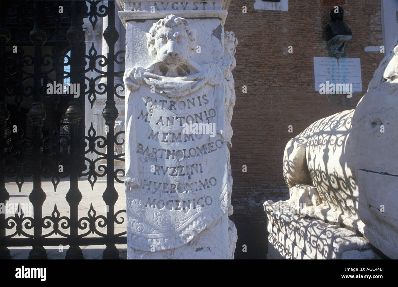 Carving outside the Castello in Venice Arsenale italy - Stock Image