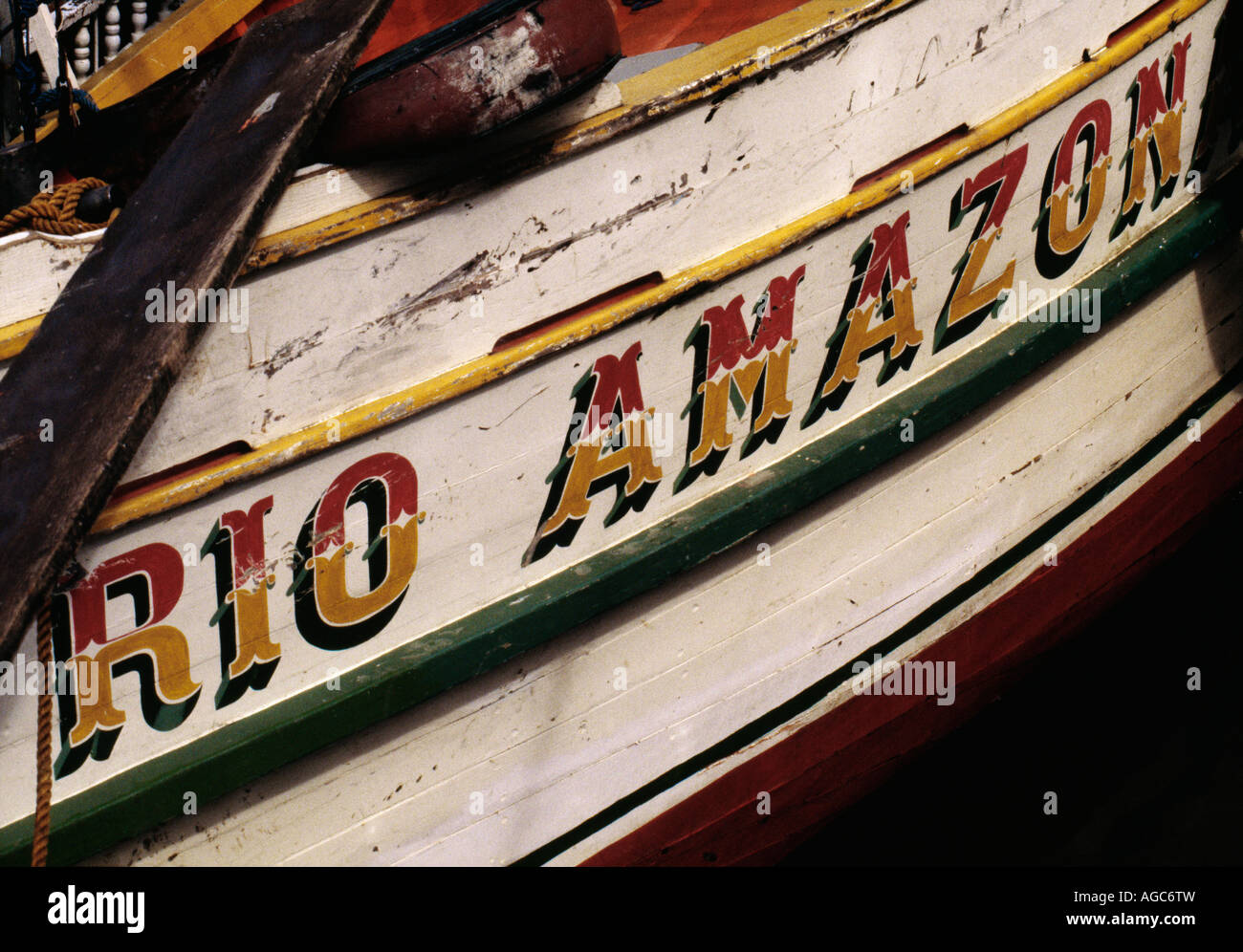 Brazil, Belem, Fishing boat called Rio Amazon - Stock Image