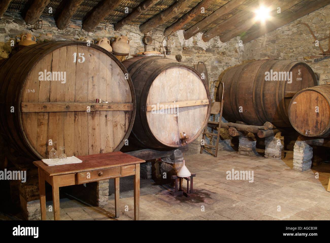 Detail of the setting of the wine cellar Celler Cecilio, Gratallops. - Stock Image
