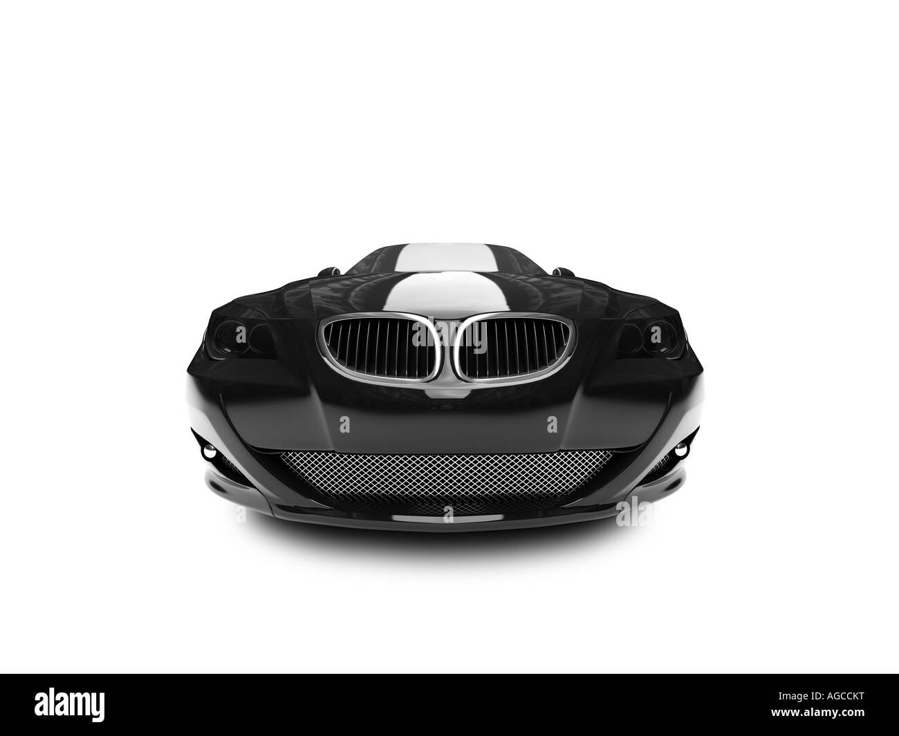 isolated black car front view - Stock Image