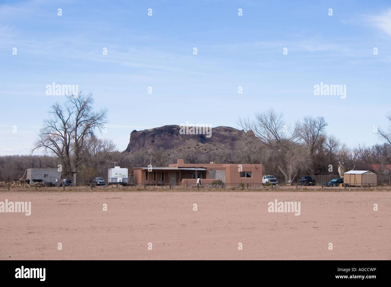 Native indian town San Il Defonso Pueblo near Santa Fe in New Mexico Stock Photo