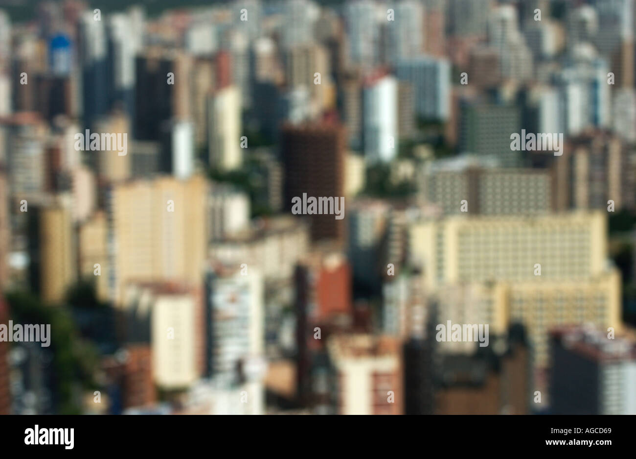 out of focus buildings in Benidorm - Stock Image