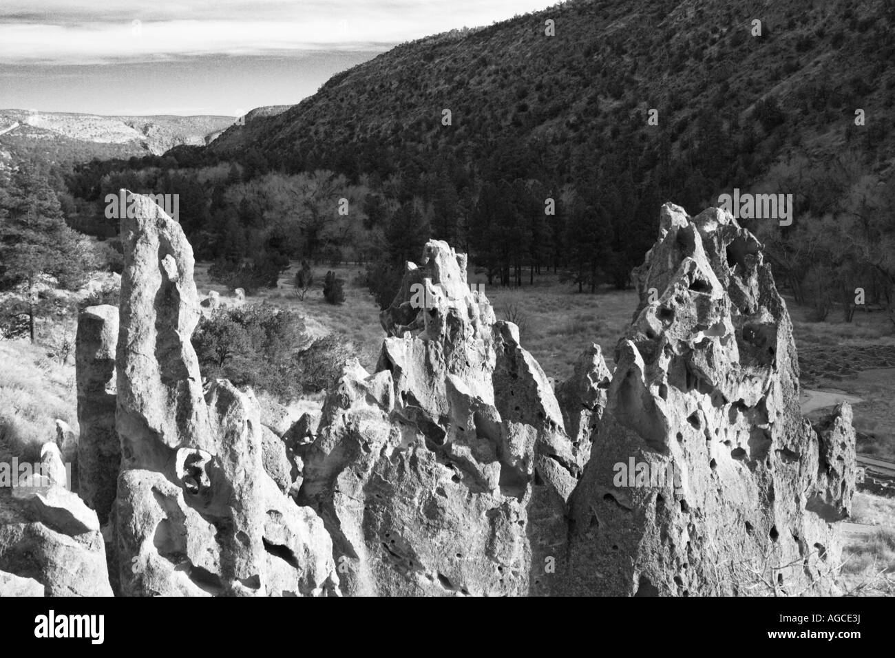Native indian town ruins at the Bandelier National Monument Stock Photo