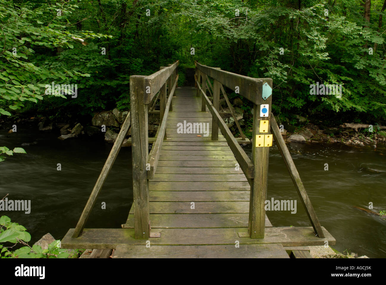 Hiking trail crossing a stream New Jersey Highlands region Stock Photo