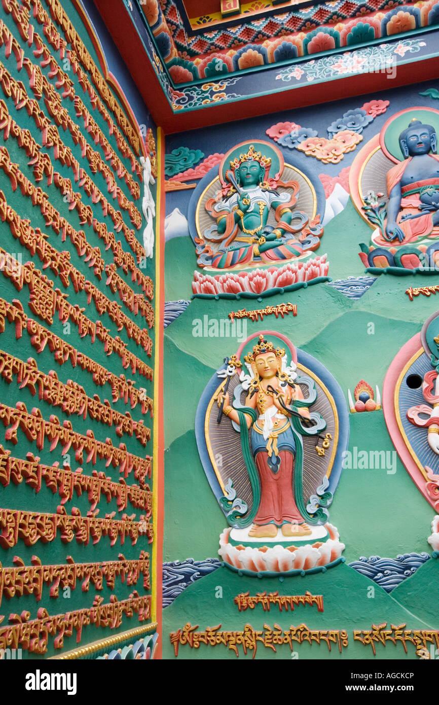Tibetan deities and mantras as wall decoration  Swayambhu