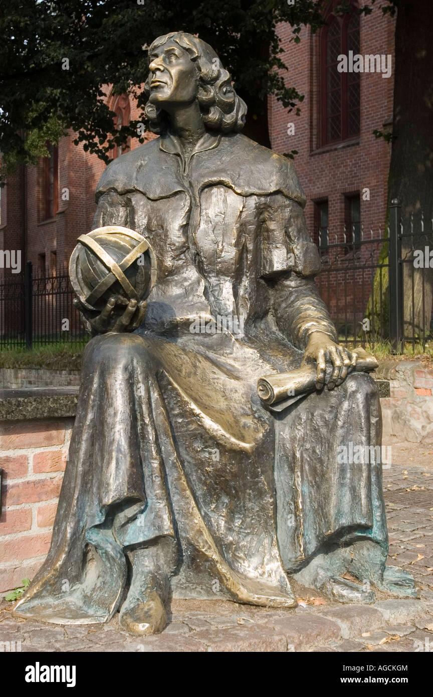 Nicolaus Copernicus metal statue in Olsztyn Allenstein Masuria Poland - Stock Image