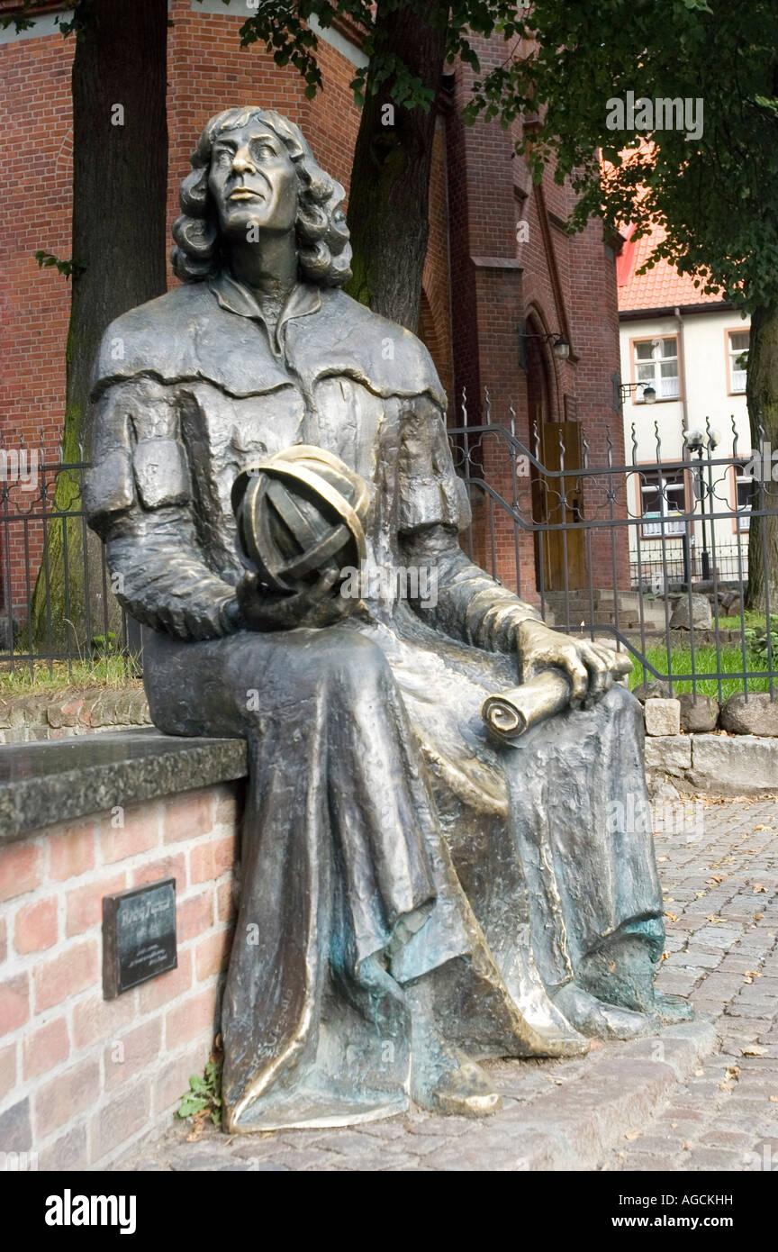 Nicolaus Copernicus metal statue in Olsztyn Allenstein Masuria Poland Stock Photo