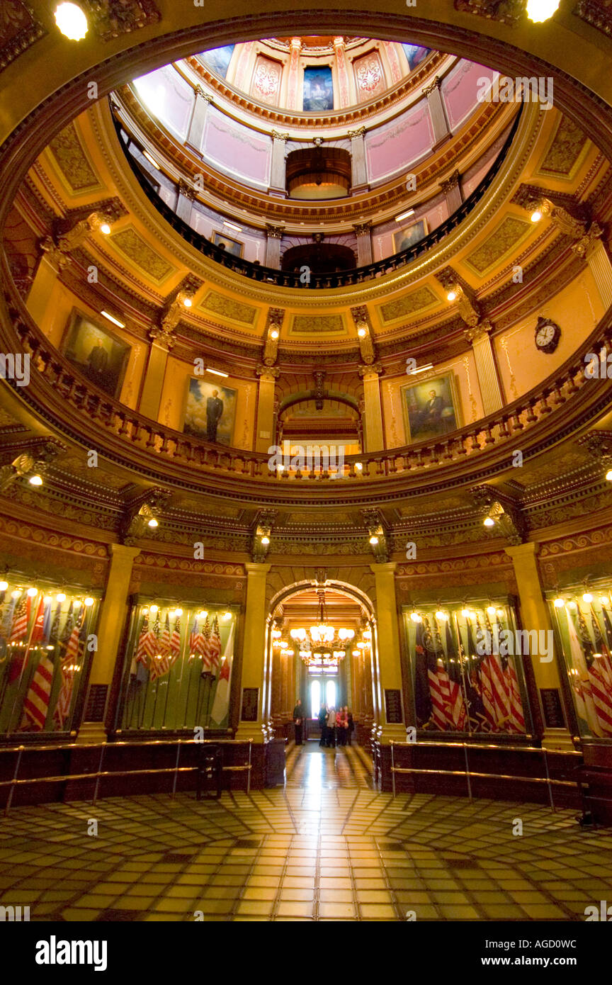 interior of michigan state capitol dome and rotunda stock photo