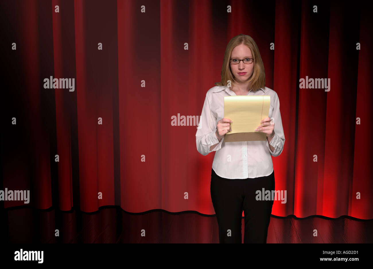 Caucasian Teen Girl Gives Speech on Stage USA Stock Photo