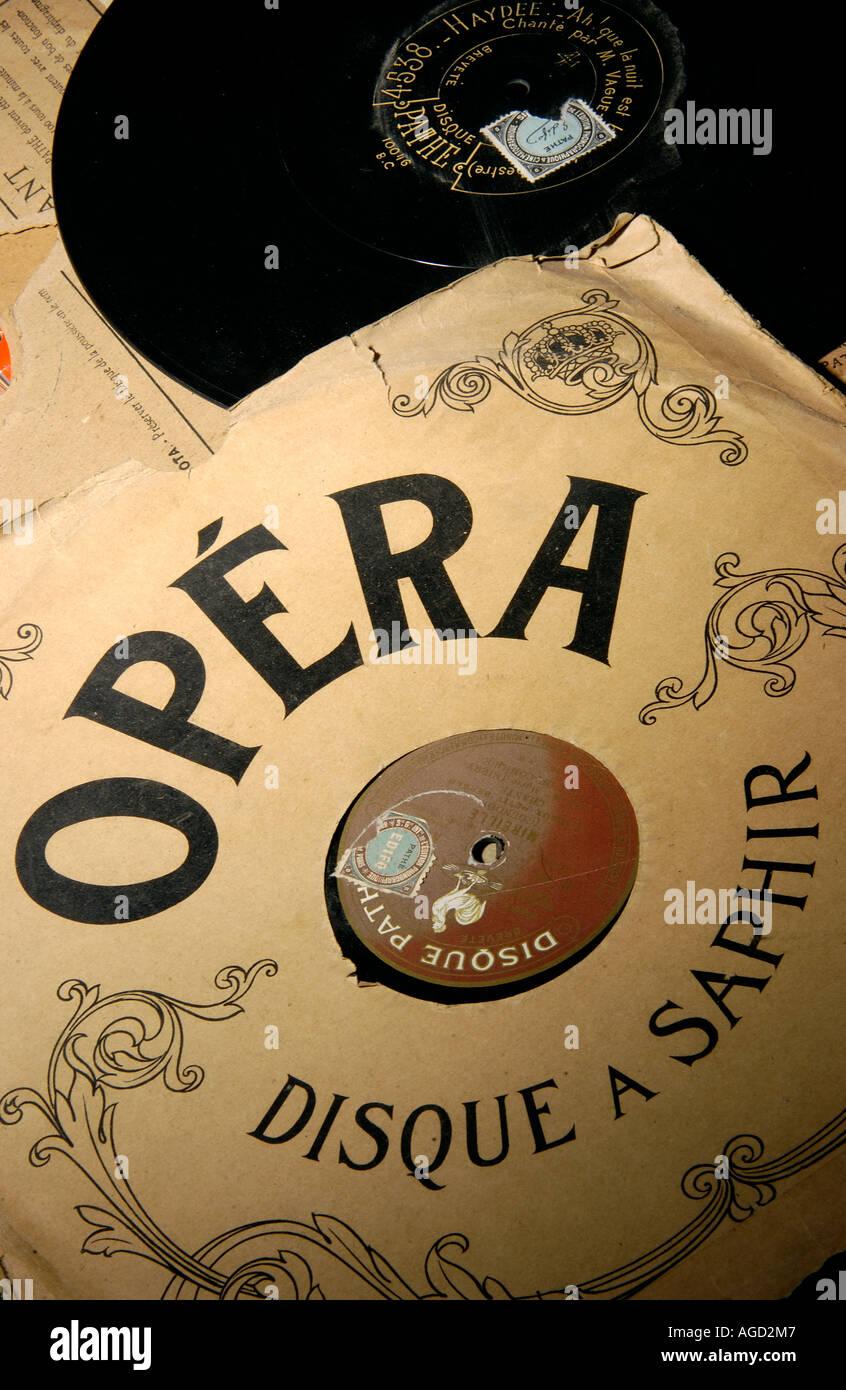 Opera music - old vintage vinyl records - Stock Image