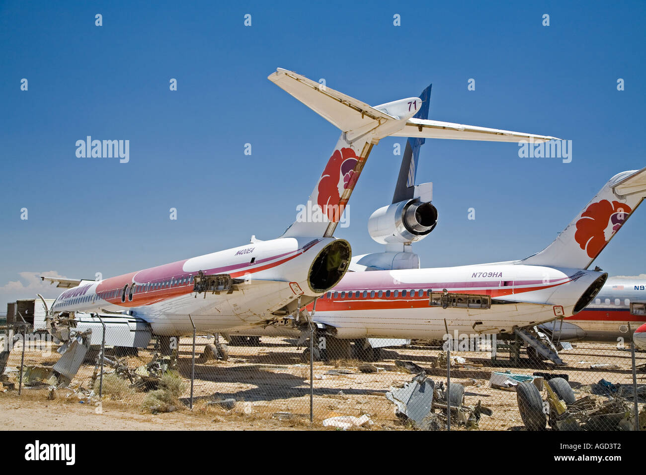 Airliners Being Dismantled for Scrap - Stock Image