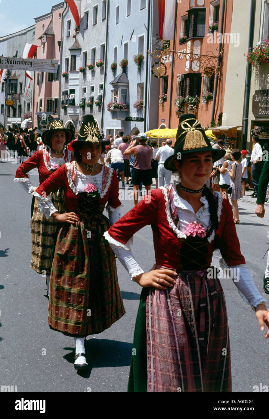 Traditionally dressed musicians and dancers in the street at the Musikfest in the small town of Rattenburg population 600 which retains a uniquely medieval appearance - Stock Image