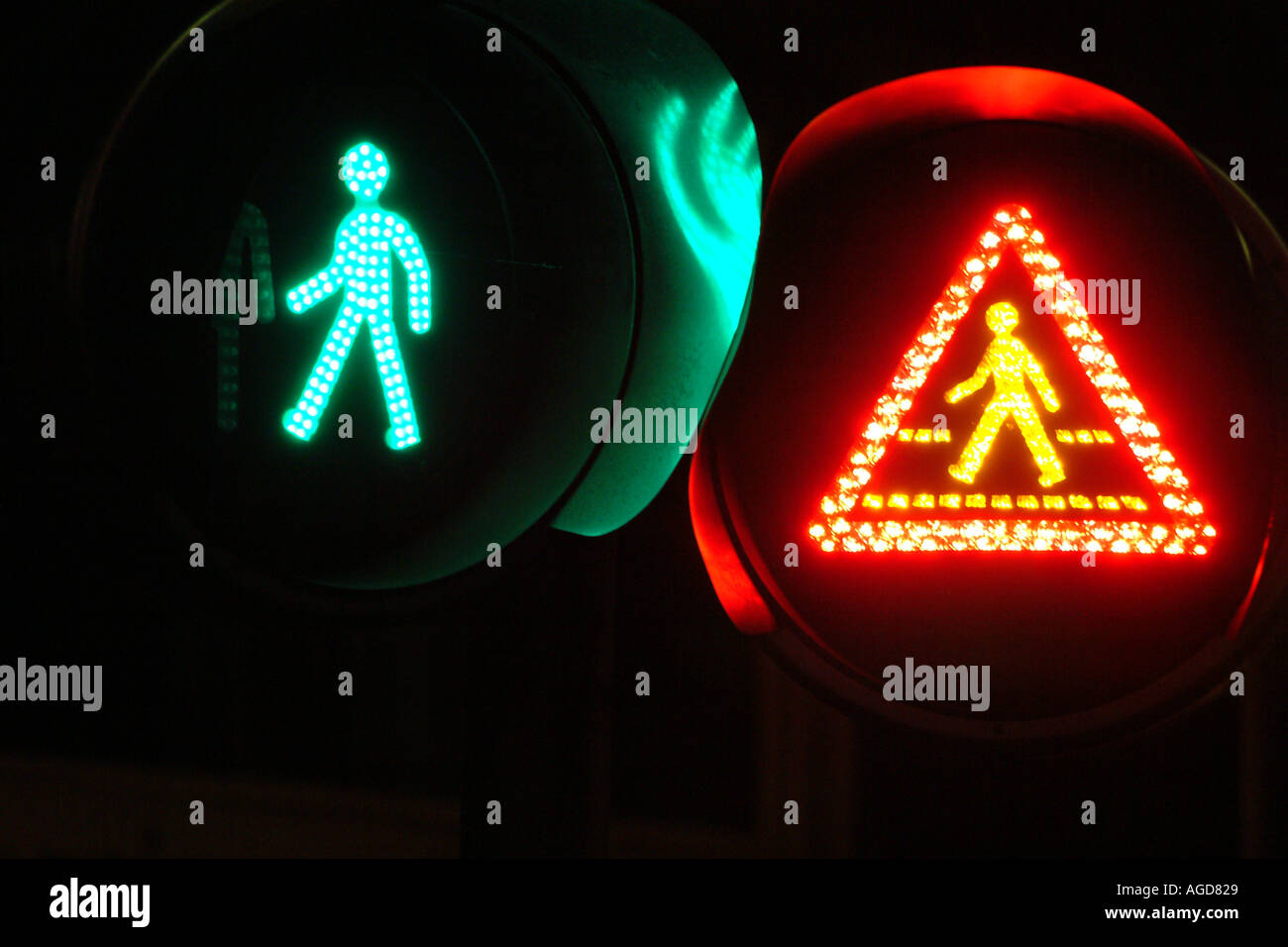 Pedestrian Crossing Green Light Red Light Road Safety Highway Code Safety First - Stock Image