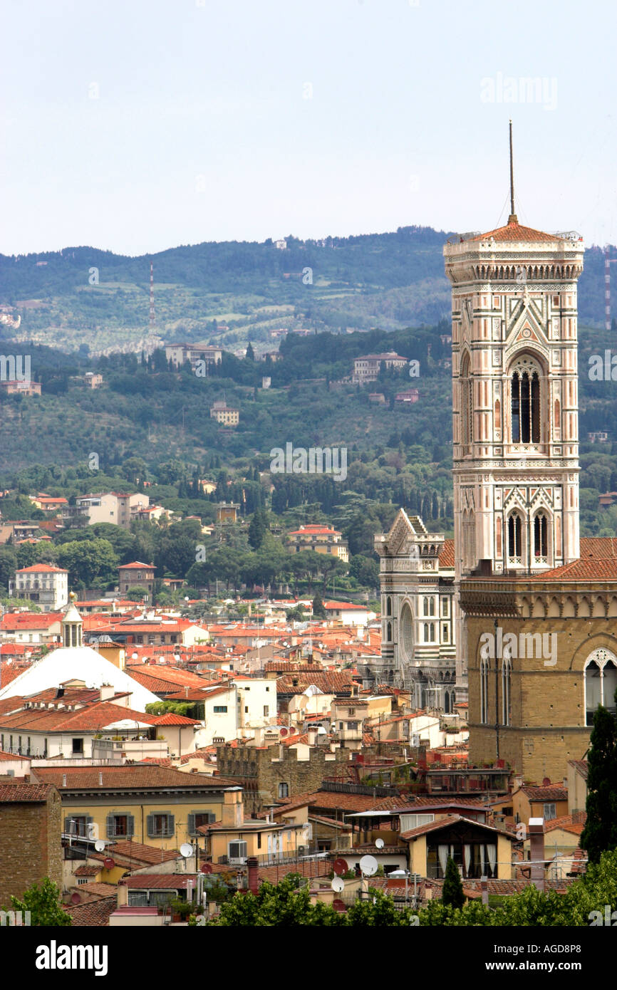 The Campanile was the Citys architect Giotto masterpiece It stands 85mtrs high 276 ft and is six metres 20ft short Stock Photo