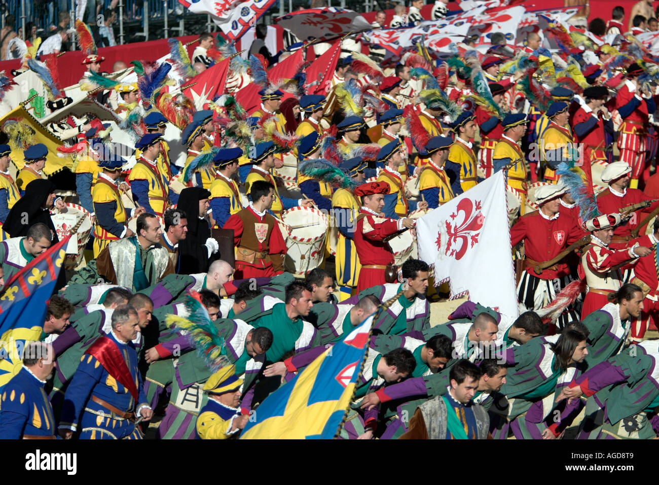 The colourful parade of the Calcio Storico in the Piazza Santa Croce, Florence, Italy. Stock Photo
