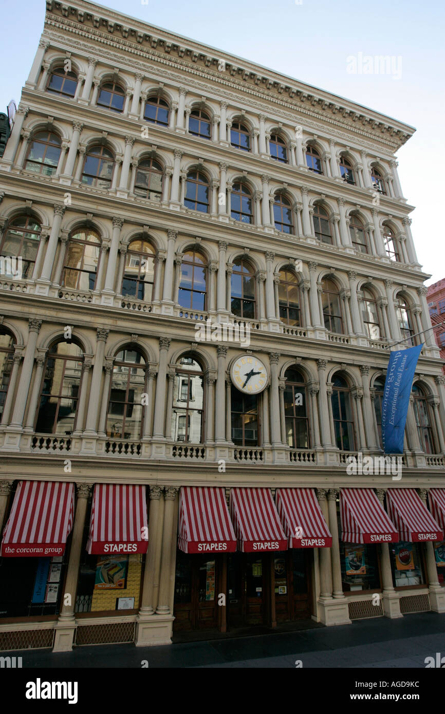 E V Haughwout building with its clock and cast iron facade on Broadway in Soho new york city new york USA - Stock Image