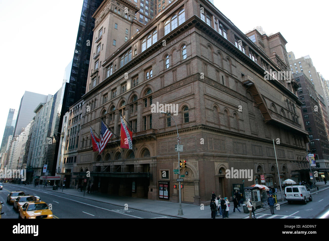 carnegie hall on corner of west 57th st and 7th avenue new york city new york USA - Stock Image