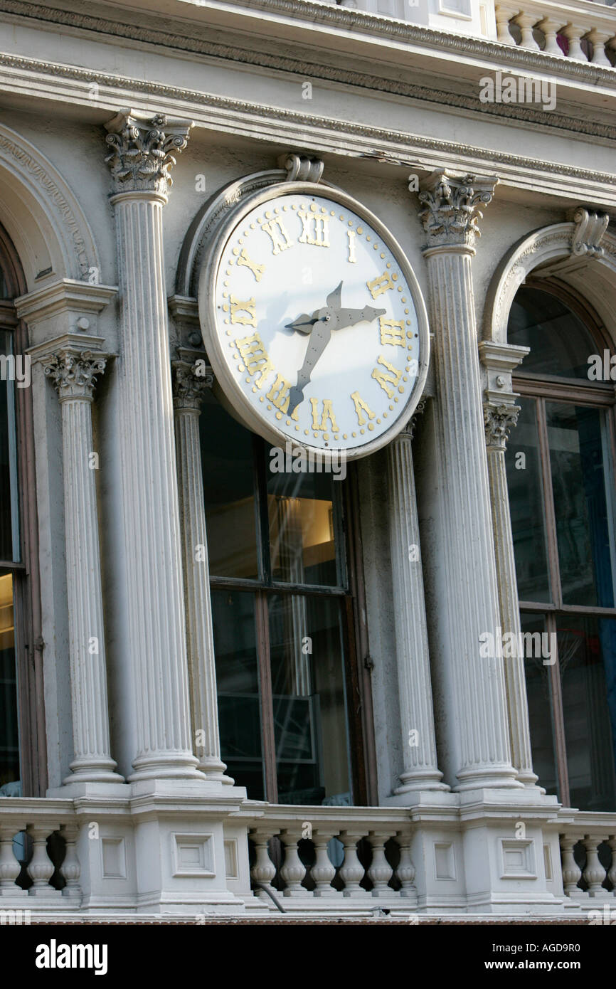 close up of the E V Haughwout building with its clock and cast iron facade on Broadway in Soho new york city new york USA - Stock Image