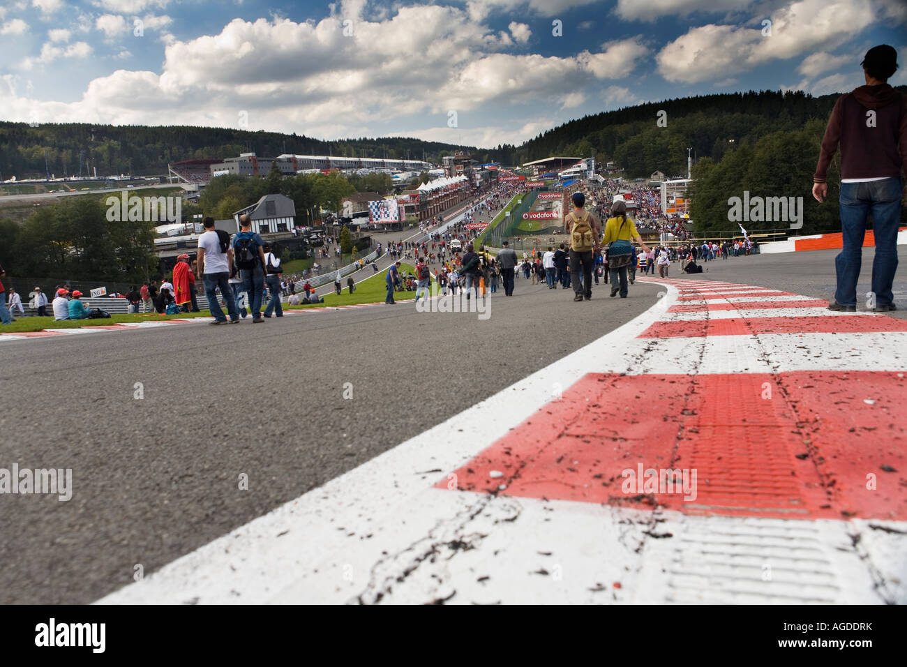 View down Eau Rouge at Belgian Formula One Grand Prix in Spa - Stock Image