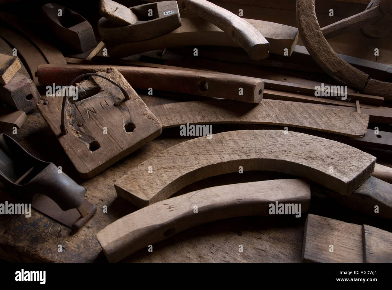 Stock Image Of Tools And Wood Templates Used For Making Wagon Wheels