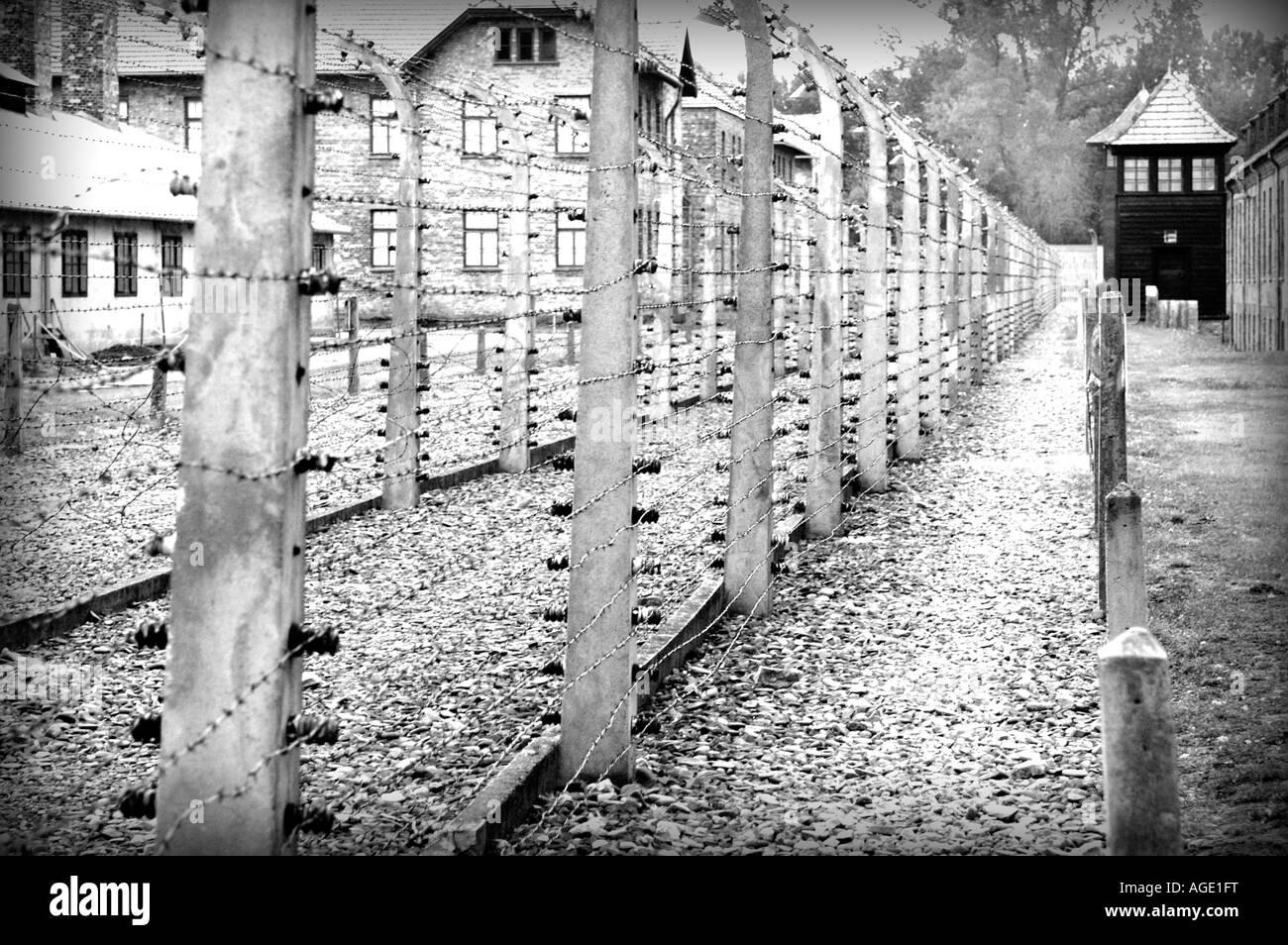 Nazi Concentration Camp in Auschwitz Birkenau, Oswiecim Poland - Stock Image