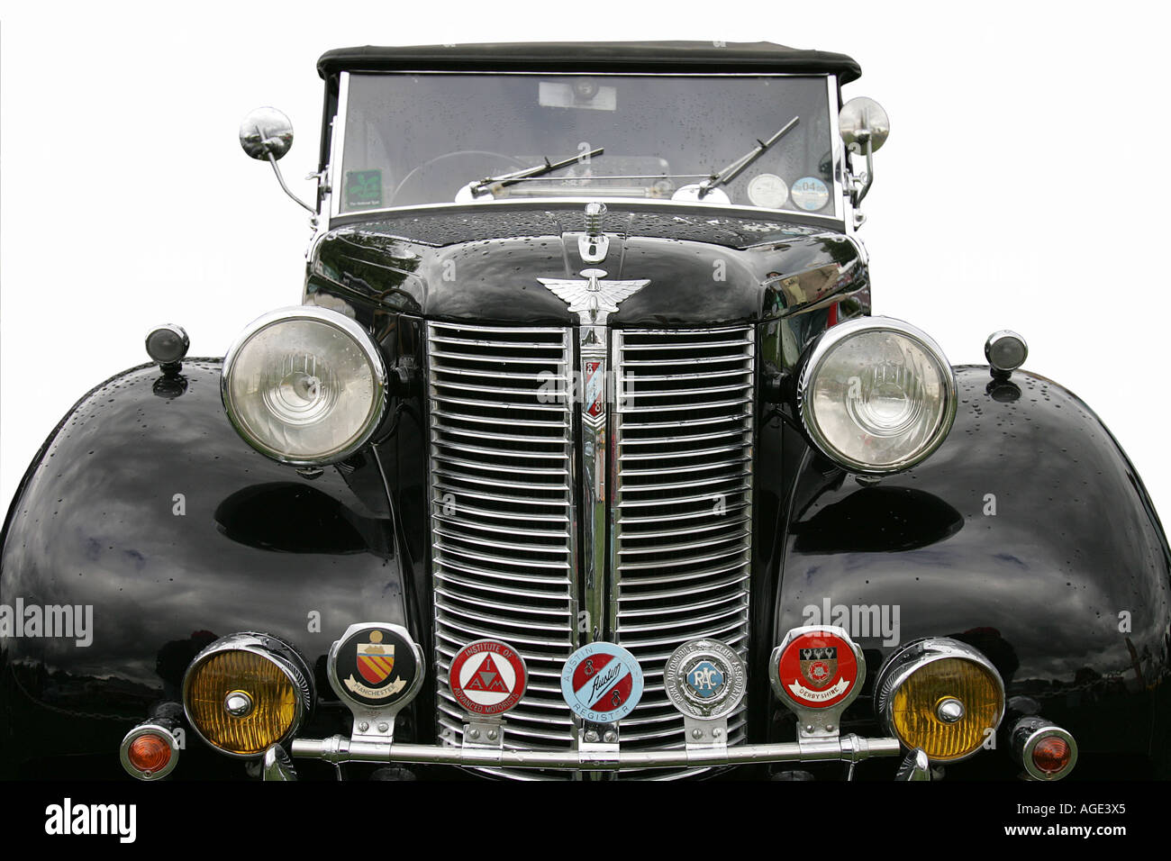 classic car Austin logo close up old history vehicle vintage Stock ...