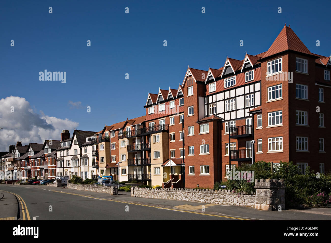 Buildings on the sea front Rhos on Sea Conwy Wales UK - Stock Image