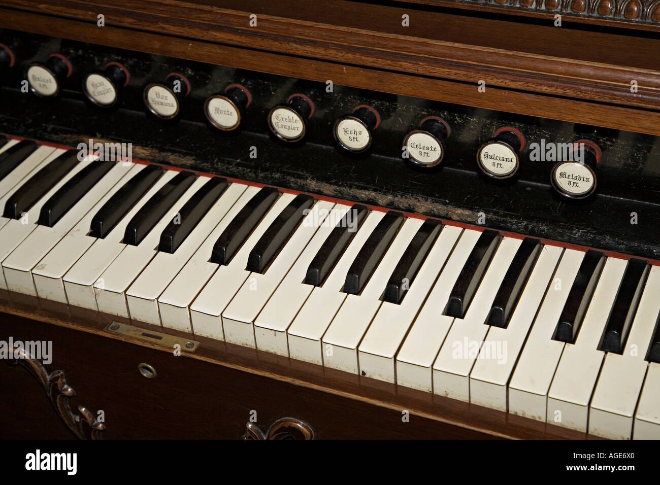 Old Organ Keyboard Organ Stops Stock Photos & Old Organ Keyboard