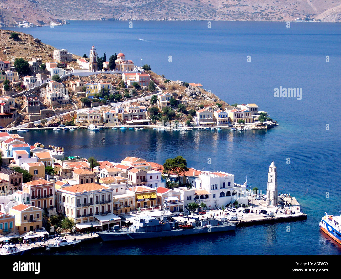 Symi Harbour Dodecanese Island Harbor Greece EU European Union Europe Stock Photo