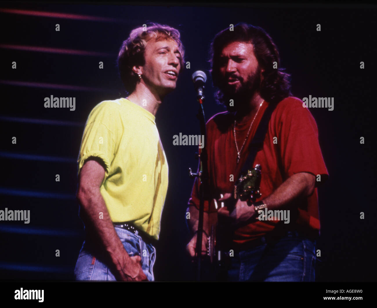 BEE GEES with   Robin Gibb at left and Barry Gibb - Stock Image
