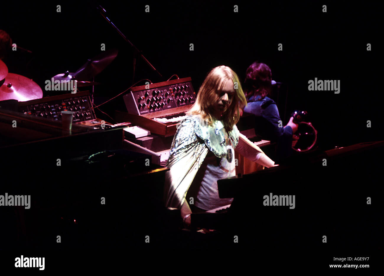 YES   Rick Wakeman on the Tales From Topographic Oceans tour in 1974. He left the band shortly afterwards. - Stock Image