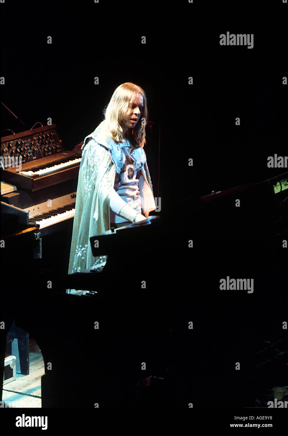YES   Rick Wakeman on the Tales From Topographic Oceans tour in 1974. He left the band shortly afterwards. Stock Photo