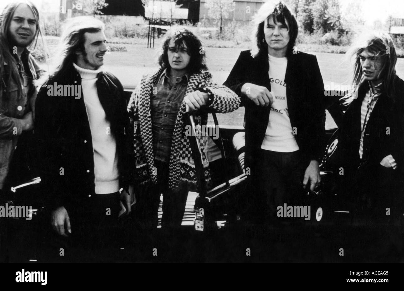 YES UK band about 1974 with Rick Wakeman at left - Stock Image