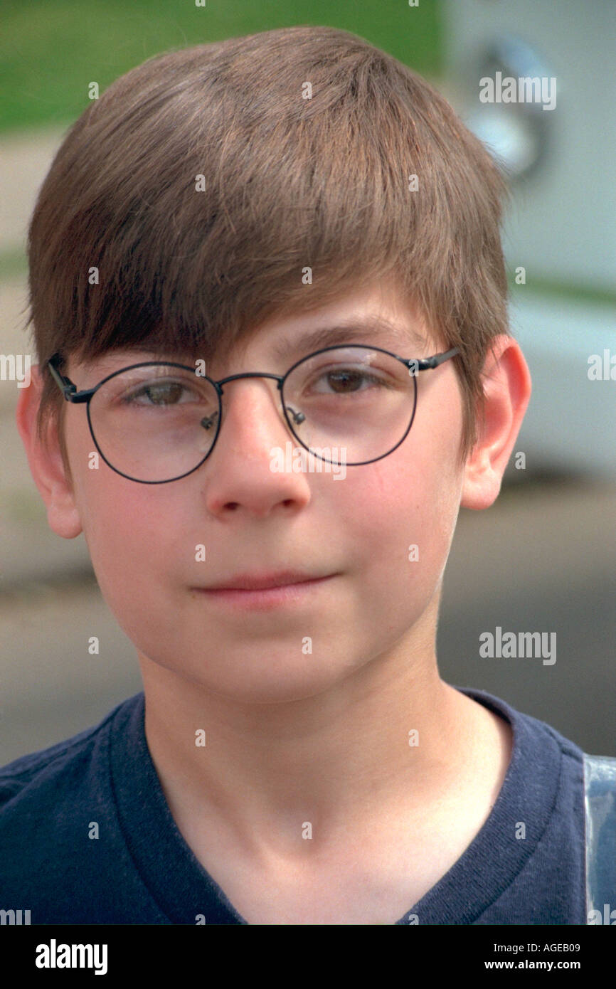 Harry Potter look-alike  age 11 at Grand Old Day celebration. St Paul Minnesota USA - Stock Image