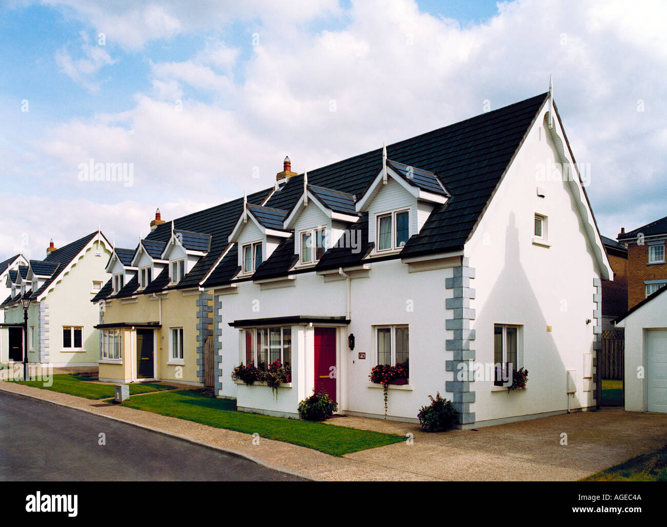 Modern bungalow cottage style houses in a housing development in ireland