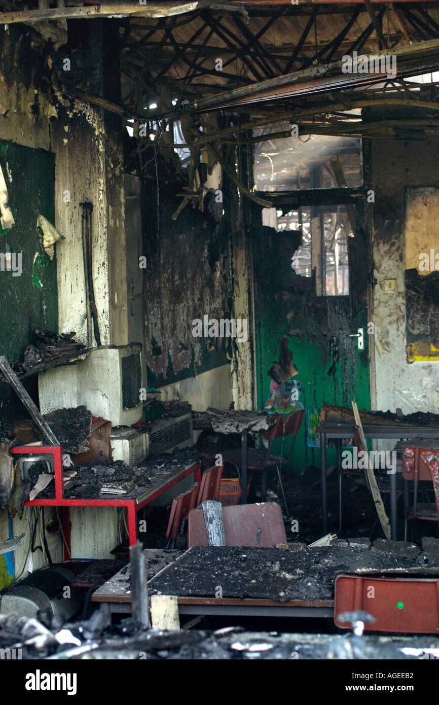 Burnt out gutted classroom after a fire destroyed Rogerstone Primary School Newport Gwent Wales UK - Stock Image