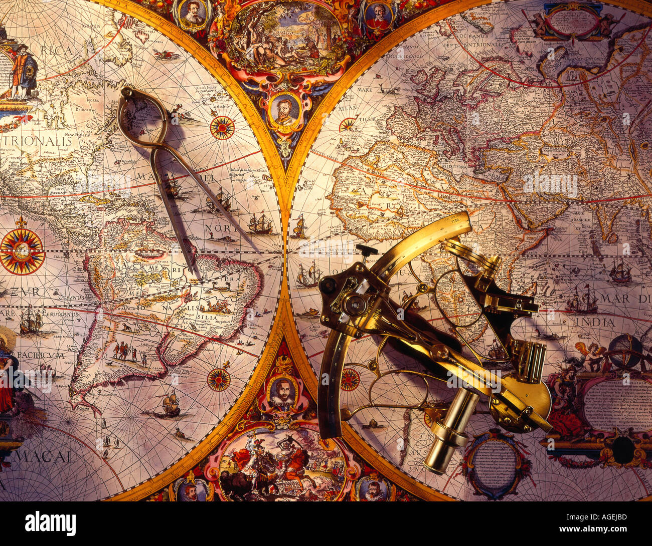 Sextant and dividers on old naval map - Stock Image