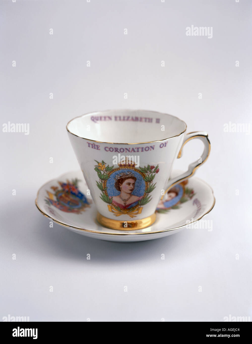 Coronation cup and saucer on white - Stock Image